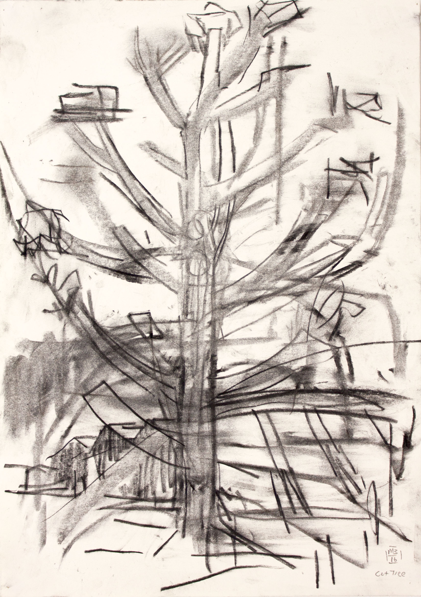 Cut tree (2016) 42 x 29.5 cm (16.5 x 11.6 in.) Charcoal on paper Michael Markwick