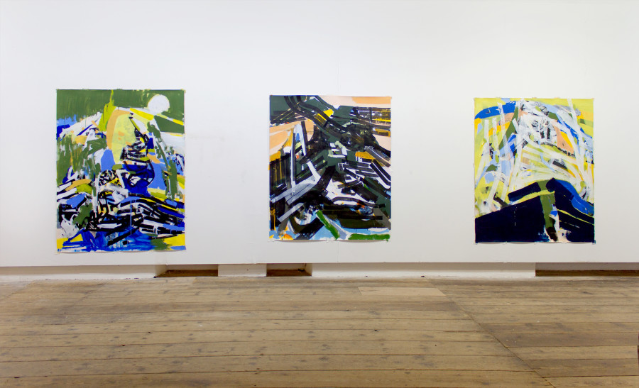 Works left to right: Swimmer (2015), Shadow (2014), Spring (2015); Michael Markwick