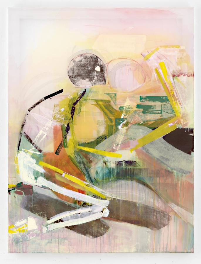 Painting by Michael Markwick Adam and Eve (2020) 160 x 120 cm (63 x 47 1/4 in.) Acryl auf Seide Acrylic on silk Foto:  Eric Tschernow