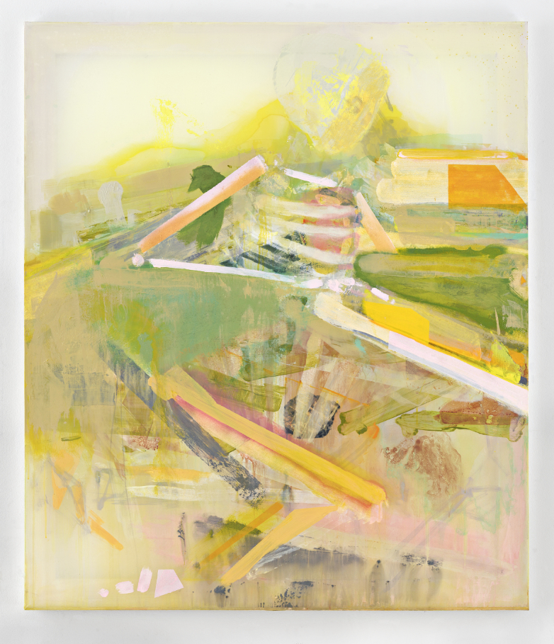 Painting by Michael Markwick, Sleeper Rising (2020) 140 x 120 cm (55 1/8 x 47 1/4 in.) Acrylic on silk