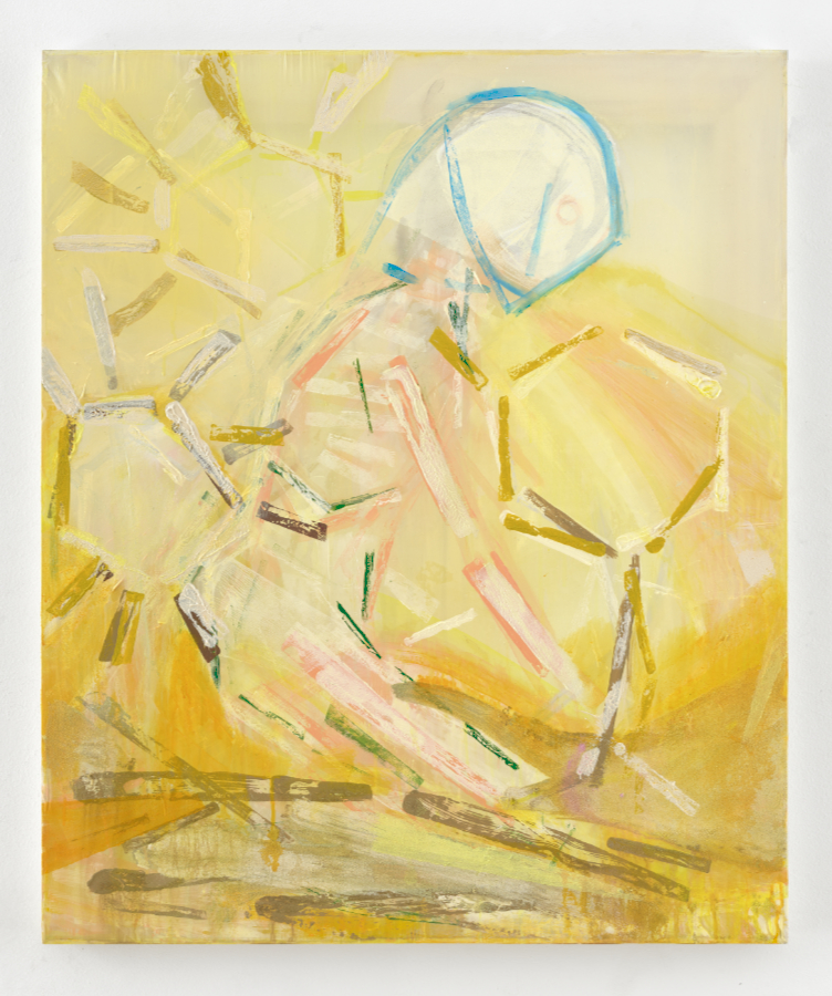 Michael Markwick; Girl Planting (2020) 90 x 75 cm (35 7/16 x 29 1/32 in.) Acryl auf Seide Acrylic on silk