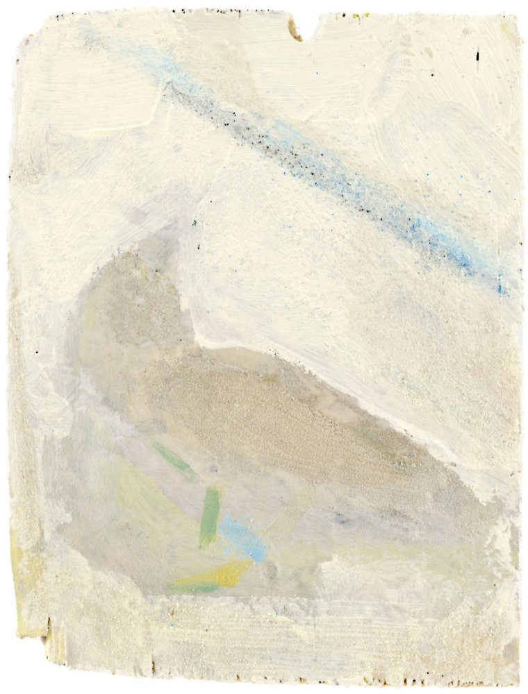 Painting by Michael Markwick -Sparrow, 2021, Acrylic, pigment, and sand on wood, 20 x 16 cm ( 7 9/10 x 6 3/10 in.)