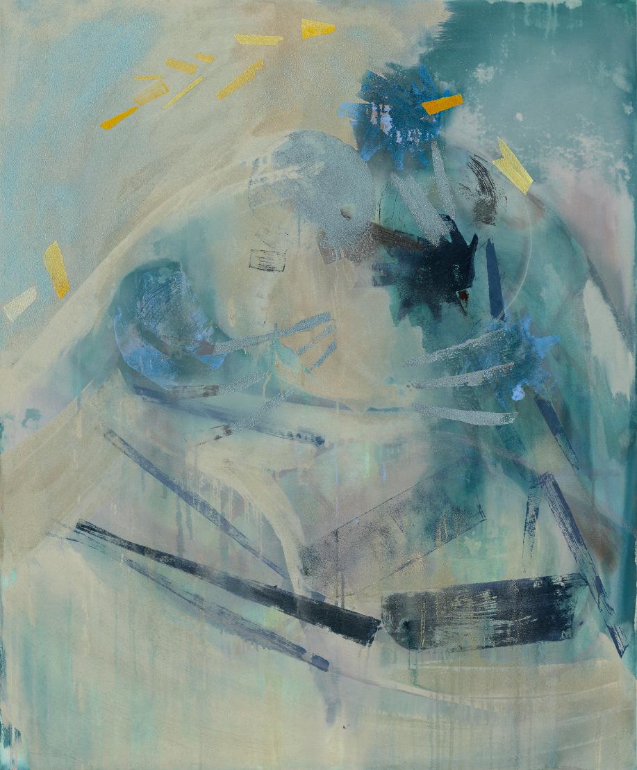 Artist Michael Markwick Forsythia on Bright Night (2021) 145 x 120 cm (57 ³/₃₂ x 47 ¹/₄ in.) Acrylic and sand on raw silk.