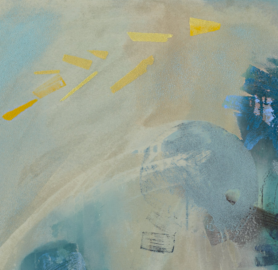 Detail: Michael Markwick Forsythia on Bright Night (2021) 145 x 120 cm (57 ³/₃₂ x 47 ¹/₄ in.) Acrylic and sand on raw silk.