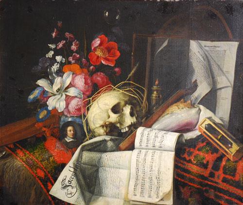 © Martin von Wagner Museum, Foto: Birgit Wörz Image: Vanitas-Stillleben mit Dokument, Nottenblättern und einem Blumenstrauß Öl auf Leinwand 70 x 83cm Asthetisches Attribut, Inv.-Nr. F628